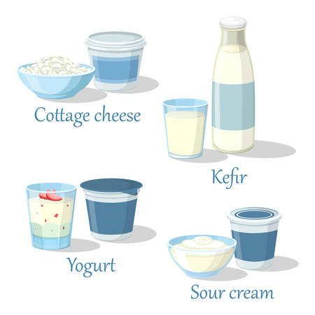 Yogurt and kefir, cottage cheese with sour cream.