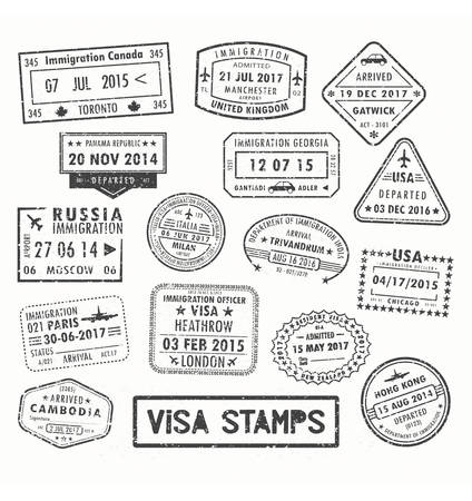 Visa stamps or passport signs of immigration. Stock Illustratie