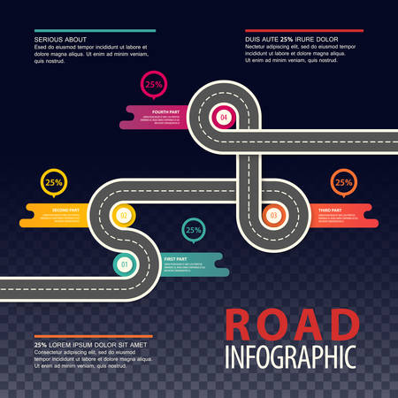 Road or highway infographics, car traffic map.