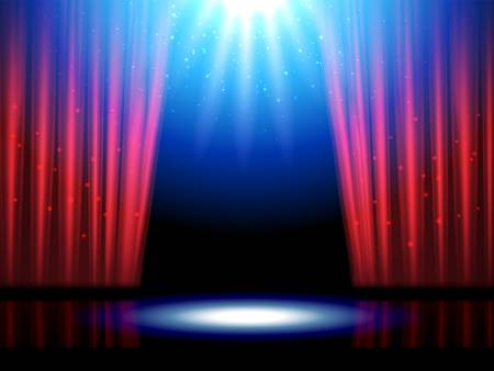 Theater scene with lights or theater stage Vector illustration.