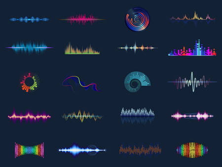 Sound waves or acoustic music equalizer Vector illustration.