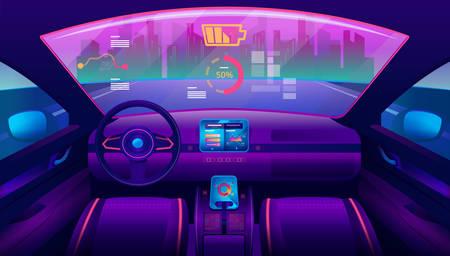 Inside view on futuristic self-driving car salon Vettoriali