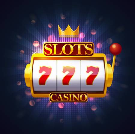 Slot machine with lever and three sevens on screen. Casino fruit machine or puggy, pokies or one-armed bandit with 777. Jackpot and gambling, risk and entertainment, winning and luck theme.