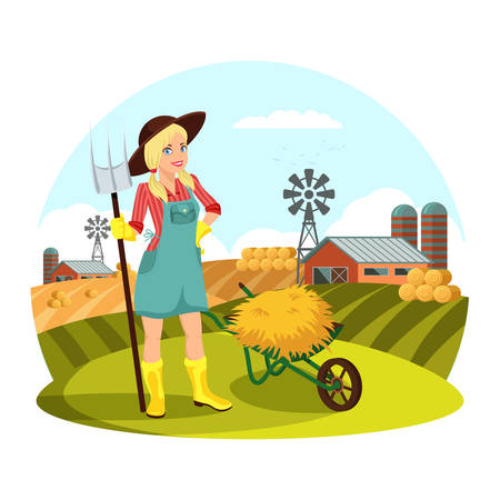 Woman with pitchfork in front of field with hay Vector illustration.