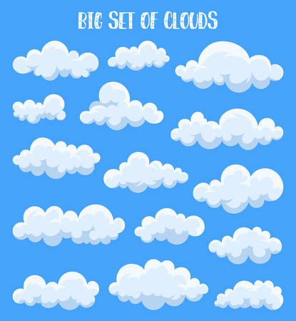 Set of isolated cumulus clouds in sky. Air at summer or spring, heaven cloudscape with fluffy vapor, simple outdoor scenery view. Weather forecast and atmosphere, meteorology and nature theme Stock Illustratie
