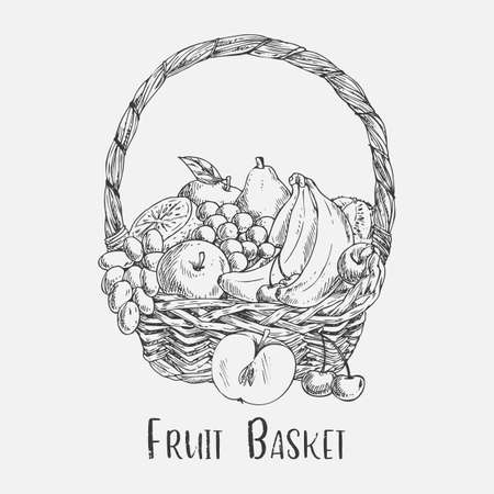 Wicker basket or ped sketch with garden fruit food Stok Fotoğraf