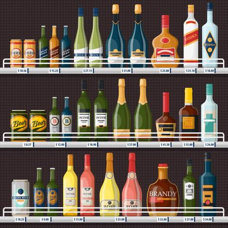Escaparate con bebidas alcohólicas o bebidas.