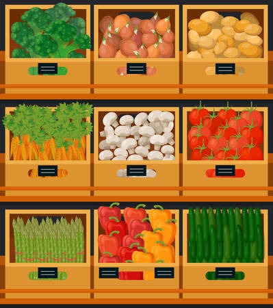 Vegetables at market in wooden boxes with prices Illustration