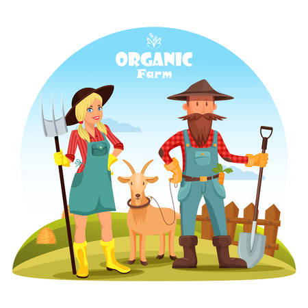 Farmer with goat and girl near hay heaps Illustration
