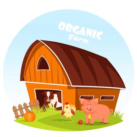 Cow at barn and pig at farm yard Illustration