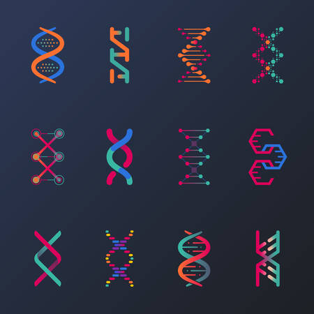Set of isolated dna helix or spirals, cell