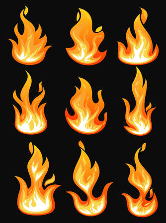 Set of isolated fire or hot flame icons. Blazing bonfire or burning campfire, bright wildfire, glowing spark or light ignition, game fireball. Energy and danger, warning and power, flaming theme