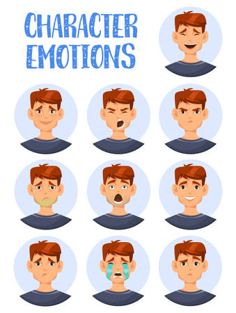 Set of isolated icons of man facial expressions