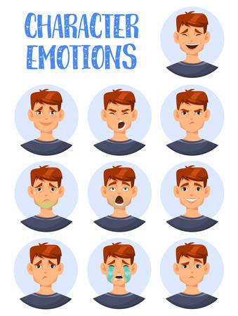 Conjunto de iconos aislados de expresiones faciales de hombre