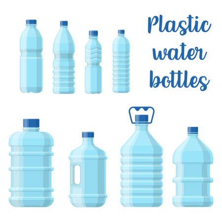 Set of isolated plastic bottle for water. Transparent empty and blank container for healthy liquid, natural wet, fresh aqua for drinking. Hydrate and non-alcoholic beverage, healthy theme