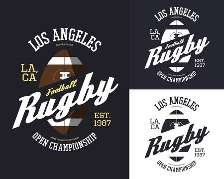Set of isolated rugby balls for t-shirt print Stock Illustratie