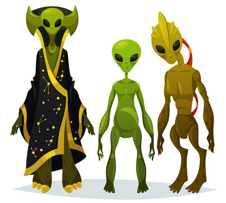 Cartoon aliens staring or funny extraterrestrial standing, monster from cosmos with bathrobe, UFO character from outer space, fiction invader or abduction creature. Sci-fi and mystery, universe theme