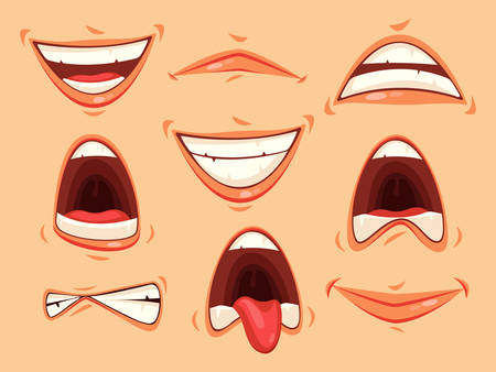 Set of isolated mouth with lips and teeth, tongue showing emotions of horror and happiness. Facial smile and mad or angry, furious mouth expression. Cartoon Man or woman feeling expression