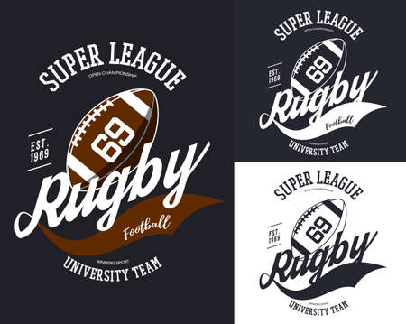 Rugby or american football ball for t-shirt print