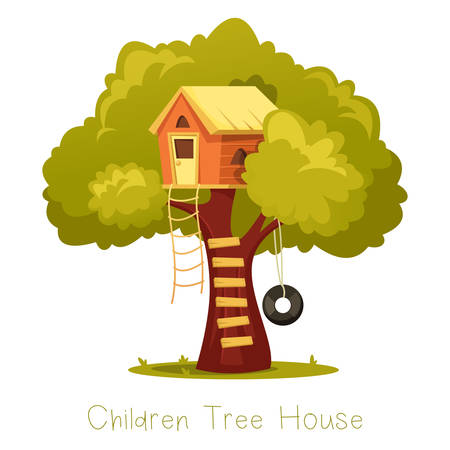 Wooden kid house on tree.