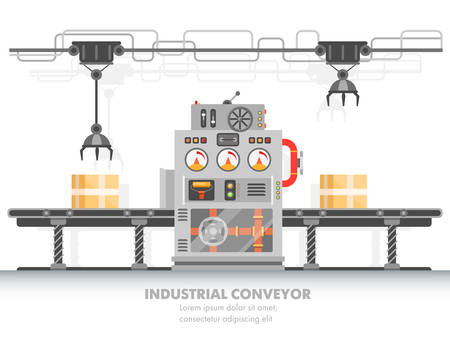 Smart factory horizontal belt or robotic manufacturing conveyor with control panel. Packing and processing, distribution technology. Automatic production and technology, modern automation theme Illustration