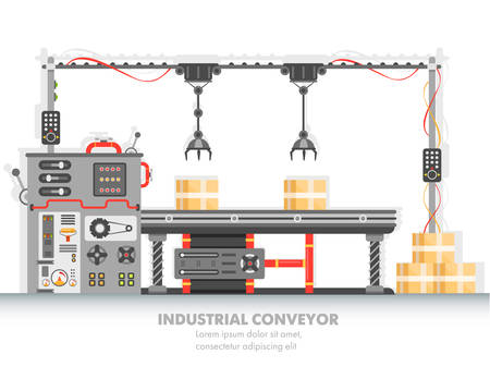 Industrial manufacturing line with automated process. Horizontal belt for packaging and distribution. Machinery and manufacture, engineering, modern plant and futuristic factory theme