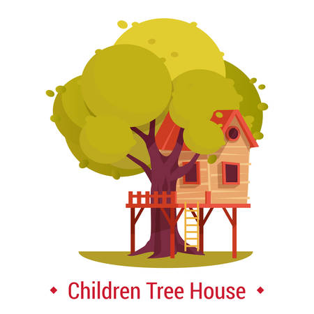Structure or building on tree for kids. Playhouse or tree-house with ladder and fence for children activity or leisure, recreation. Secret kinder shelter for playing with friends at yard. Architecture