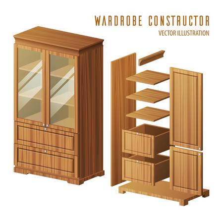 Wardrobe construction instruction or built-in closet building steps with doors and shelves, racks. Plan for house woodcraft or furniture shop or store, detail constructor. Replaceability theme