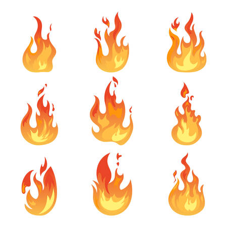 Set of isolated blazing wildfire or realistic flame icons. Hot campfire or burning bonfire, glowing spark or light ignition, game fireball. Danger and energy, warning and power, flaming theme Stock Vector - 103623519