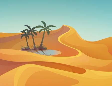 Landscape of desert with sand hills and oasis with palm trees. Africa, Sahara dune with lake. Daytime panorama at egypt climate, tree and pond at wasteland. Arabic and african land. Ilustração