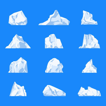 Set of isolated iceberg or drifting arctic glacier, northern frozen water or ocean or sea tabular and dome, wedge and drydock, blocky crystal. Frozen mountain and icy, frezen liquid and north theme
