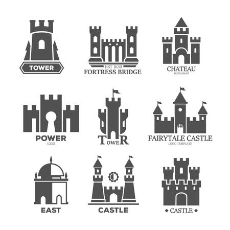 Castle or fortress parts for logo or icons