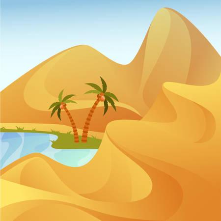 Panorama del deserto con oasi. Paesaggio con colline di sabbia e lago con palme. Vista esterna al caldo sahara o africa. Turismo e safari, viaggi e vacanze a tema