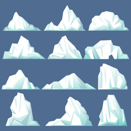 Drifting iceberg or set of isolated frozen ocean water, crystal icy mountain with snow. Antarctic and south and north pole landscape, icicle in sea or ocean, winter and cold theme