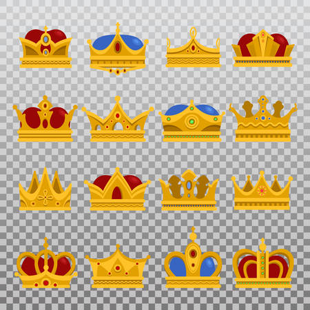 Isolated set of royal king or prince crown, pope tiara