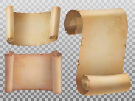 Ensemble isolé de rouleau de papier antique ou ancien. Rouleaux horizontaux et verticaux ou manuscrit ancien, papyrus obsolète, modèle d'arrière-plan pentateuch roulé. Histoire et religion, thème de la sagesse