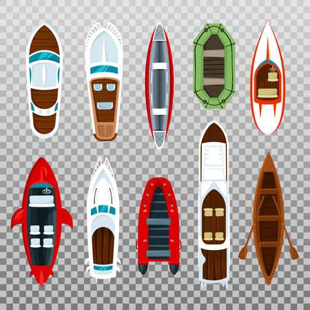 Vissersboten en houten zeilboot met peddels
