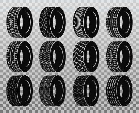 Isolated tire or wheel for truck or bus, automobile tyre. Vettoriali
