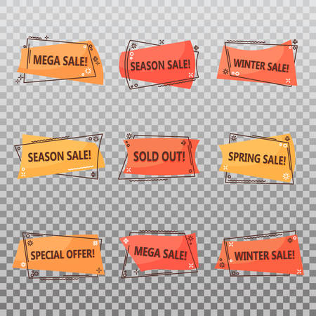 Seasonal clearance sale tags. Geometric or linear labels for discounts at spring or winter. Retail promotion sticker or special offer voucher, sold out announcement. Advertising and shopping theme