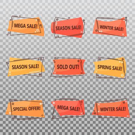 Saisonale Ausverkaufs-Tags. Geometrische oder lineare Etiketten für Rabatte im Frühling oder Winter. Verkaufsaufkleber oder Gutschein für Sonderangebote, ausverkaufte Ankündigung. Werbe- und Einkaufsthema Vektorgrafik