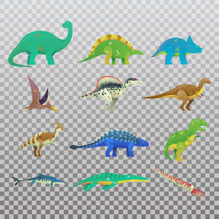 Set of isolated cartoon dinosaur or dino