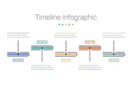 Plantilla de fondo de infografía con línea de tiempo de años. Infochart de cronología con marcadores de tiempo para el informe de estadísticas económicas o la presentación del plan de negocios. Programación e información, tema de progreso Ilustración de vector