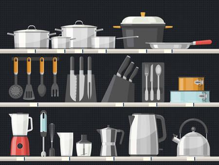 Ripiani con accessori da cucina o interni di stoviglie con coltelli e teiera, casseruola e padella. Utensili e posate per la casa, elettrodomestici, stoviglie. Attrezzature da cucina e tema della preparazione del cibo