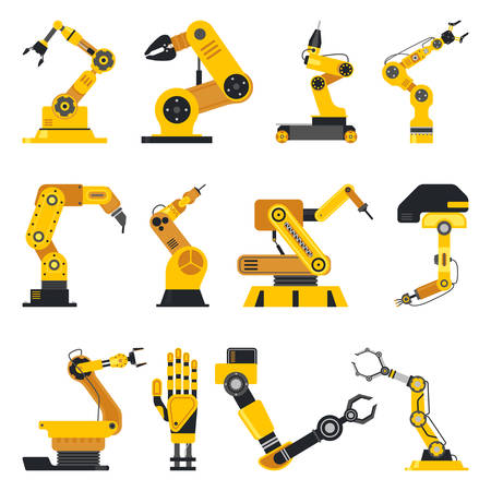 Set of isolated robotic manipulator or mechanical hydraulic arm, welder for industrial line at plant or factory. Automation and assembly, production and packaging, automate welding and high-tech