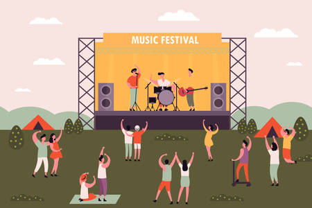 People at rock or electronic music festival dancing. Men and women camping near concert stage at musical festival. Outdoor holiday or weekend activity. Entertaining and performance theme Vektorové ilustrace