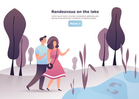Man and woman having date at wood. Couple having meeting or conversation at lake. Male and female having a walk or rendezvous, appointment together at forest. People and friendship, love theme