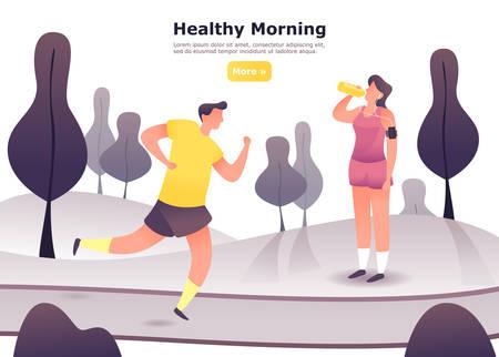 Hombre para correr en el parque de amarres y mujer en auriculares después de correr. Personas en ejercicio cardiovascular, hombres y mujeres en carrera o entrenamiento de vitalidad. Deporte y estilo de vida saludable, tema de aeróbic.Banner del club deportivo. Ilustración de vector