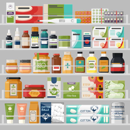 Counter or showcase at drugstore with pills and thermometer, bottles and tablets, fito tea and herbal medicine, cotton balls or wadding. Pharmacy and retail, merchandise and drug store or shop theme