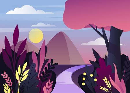 Nature panorama at dusk or twilight or wild landscape at dawn or morning. Scenic view on mountain or hill with sky or moon behind bushes and trees with road. Forest or wood environment Ilustrace