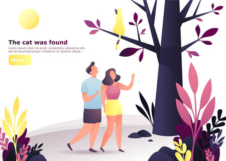 Man and woman at forest searching for cat. Couple at wood looking for a pet. Male and female at walk found animal at tree. Cartoon people and date, meeting and communication theme